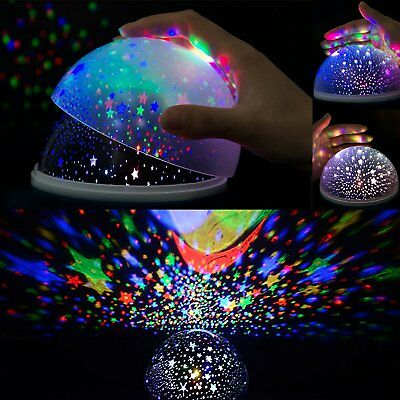 Kids Music Night Light Projector Lamp 360 Rotating Star Moon Sky Rechargeable
