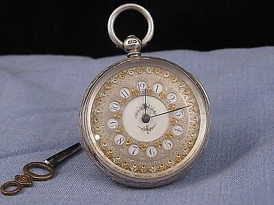 Sterling Silver Gold Victorian Antique Ornate Pocket Watch Mathey  1884