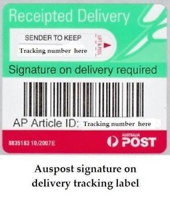 Auspost signature on delivery tracking labels, receipted, registered 100 labels