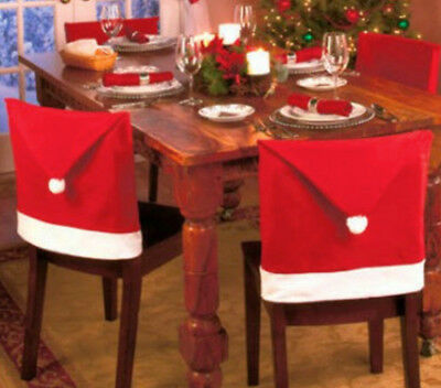 Party Christmas Xmas Decoration Table Red Hat Decor Dinner Chair Cover Clause RD