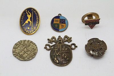 Collection Of Vintage Enamel Badges X3 Pendant Coin Brass Ymca Netball Wesleyan