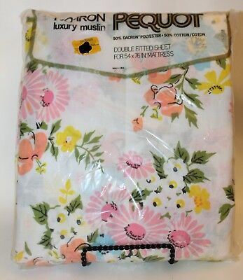 NWT Vintage Double Fitted Sheet Pequot Flower Bouquets Floral Pink Yellow Daisy