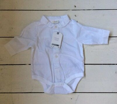 BNWT Next Baby White Cotton Shirt / Gro Up To 1 month