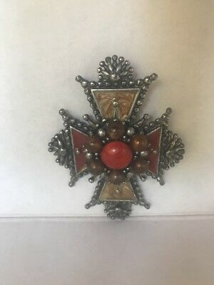 "Silver Cross Pendant with Multi Color Stones coral brown 3"" tall vintage heavy"
