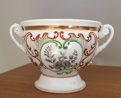 Lovely French Empire Porcelain Two Handled Cup Or Ecuelle Hand Painted Marked AI