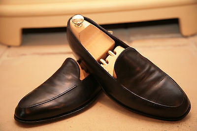 Very Rare Bespoke John Lobb Ltd Men's Black Calf Leather Loafers Shoes UK 7.5