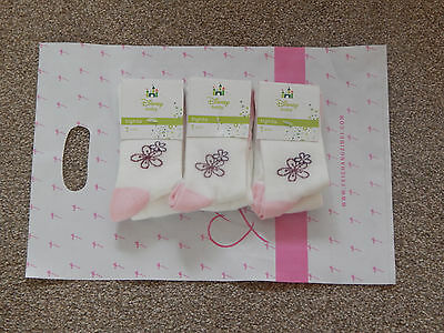 1 Pair Of Baby Girls Disney Patterned Tights In 0/3 Or 3/5 Months