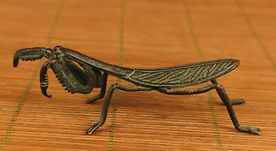 antique chinese bronze hand carving old mantis statue figure