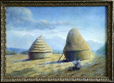 19th CENTURY LARGE SIGNED FRENCH OIL CANVAS - ARTIST PAINTING HAYSTACKS IN FIELD