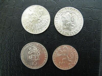 4 x Czechosolvakia Silver Coins - Nice Condition