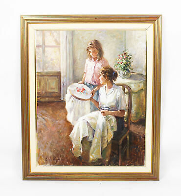 Large Vintage Spanish Oil on Canvas Signed & Dated 20th Century