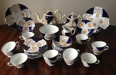 Beautiful 42 piece Gaudy Welsh tea set - tulip pattern c1900