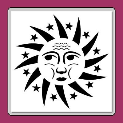 Celestial Sun Face with Star Ring STENCIL Template Cosmic Crafting!!