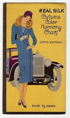 """1925 """"REAL SILK HOSIERY MILLS"""" Color Chart Brochure: Beautiful Front Cover"""