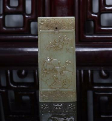 Old Chinese Celadon Nephrite Hetian Two Sheep Jade Pendant