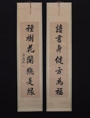 Chinese Old Wang Shoupeng Scroll Painting Couplet 78.74""