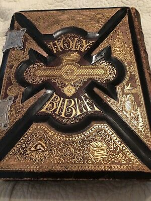 Huge Antique HOLY BIBLE Parallel Edition Illustrated Family Leather c. 1872
