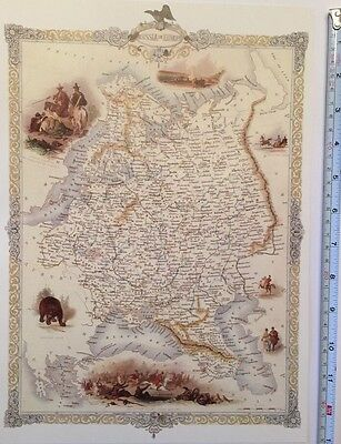 "Antique vintage colour map 1800s: Russia In Europe: John Tallis 13 X 9"" Reprint"
