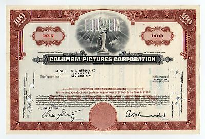 1958 Columbia Pictures Corporation Stock Certificate
