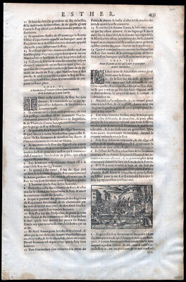 1581 Bible Leaf Esther 6-9  Woodblock Esther & King Xerxes Haman is Impaled
