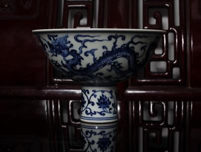 Old Fine Blue and White Chinese Porcelain High Dish Xuande MK