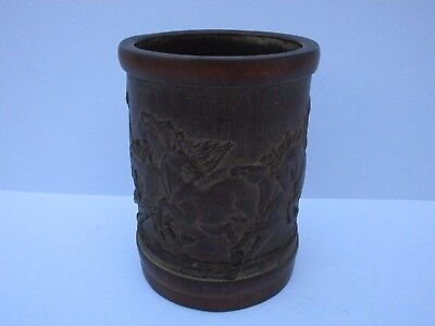 Antique Fine Old Chinese Or Japanese Brush Pot Wood Carved Bamboo Sculpture Vase