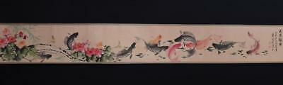 Chinese Old Wu Qingxia Scroll Painting Fish&Flower 167.32""
