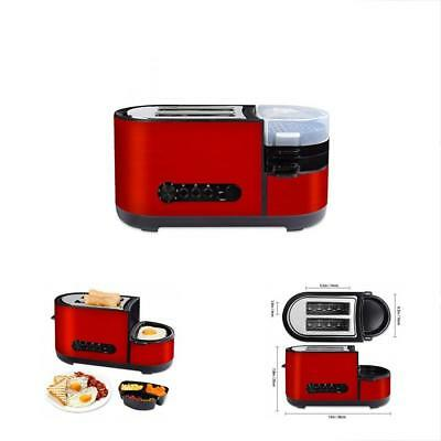 2 Toasters Slice With Egg Cooker Brushed Stainless Steel Red Wide Slot Removable