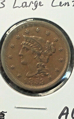 1853 Large Braided Hair Cent Choice AU Early Copper Sharp Great Eye Appeal NR