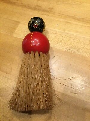 Vintage Round Horse Hair Brush w/ Painted Lady Wood Handle 7 in Barber, Wisk