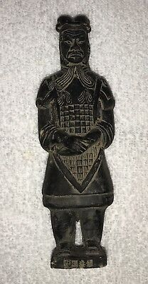 """Rare Vintage Chinese Clay Soldier Terra cotta Warrior Figure 6 1/2"""" Tall"""