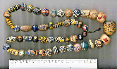 """50 Select Medieval Middle Eastern """"Ancient Islamic"""" (trade) Beads 27 inches"""
