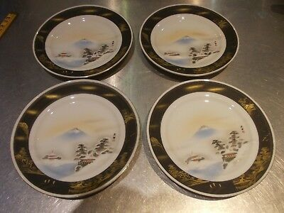 ANTIQUE set 4 japanese gilded dishes plates dish plate EACH SIGNED, HAND PAINTED