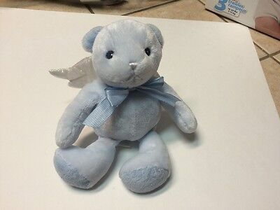 Animal Alley Tous R Us Baby Blue Bear Rattle Plush Angel Lovey Soft Toy Euc