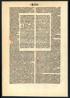 1493 Incunable Bible Leaf  Book of Ecclesiasticus 252 Hand-Colored Letters