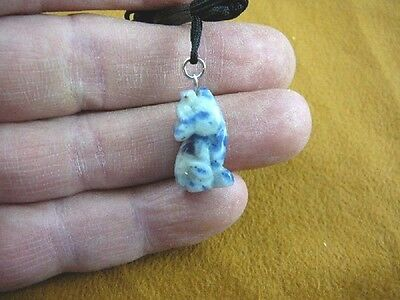 (an-coy-3) little Coyote Blue white wolf dog carving Pendant NECKLACE FIGURINE