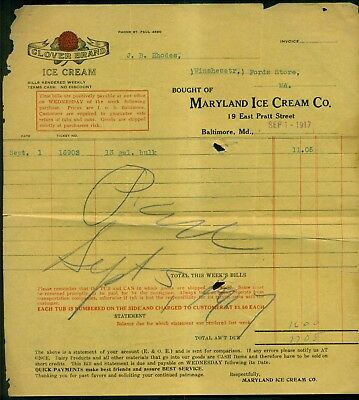 "1917 Maryland Ice Cream Co. ""Clover Brand"" Invoice - Baltimore,MD"