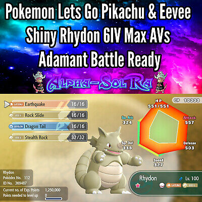 Pokemon Lets Go Pikachu & Eevee Shiny Rhydon 6IV Max AVs Adamant Battle Ready