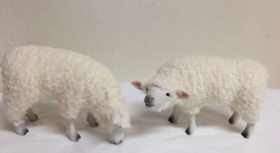 2 -Sheep Porcelain & Wool Figurines  Colin's Creatures  -Signed -Handmade