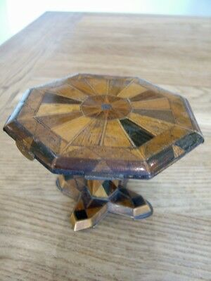 Early Victorian Inlaid Wood Miniature Table Apprentice Piece C1850 No Reserve