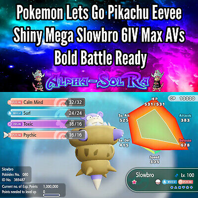 Pokemon Lets Go Pikachu Eevee Shiny Mega Slowbro 6IV Max AVs Bold Battle Ready