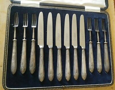JE Caldwell Co Sterling Silver Fish Fork & Knife 12 Piece Set