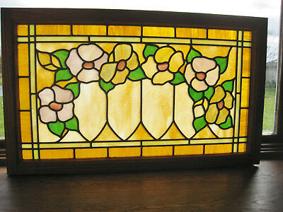 Antique Art Nouveau Stained Glass Window