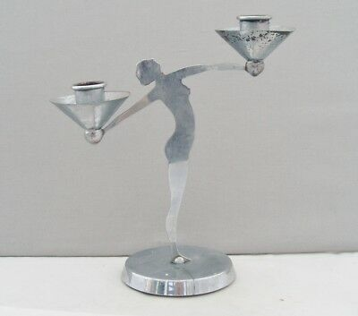ART DECO CHROME PLATED NAKED WOMAN CANDLESTICK 1920s 30s VINTAGE ORIGINAL