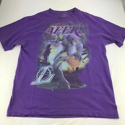 Los Angeles Lakers NBA Iron Man Marvel Comics T-Shirt Size M Purple Chemistrty