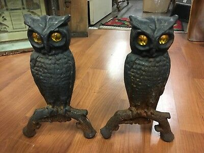 Antique SET Cast Iron Owl Fireplace Andirons Original Amber Glass Eyes Antique