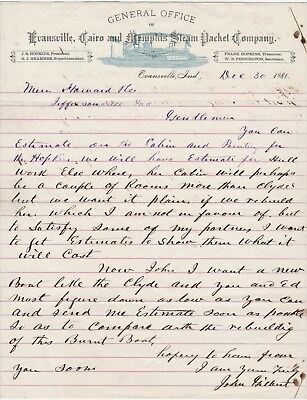 RARE Letter Evansville IN Cairo Memphis Steam Packet Co - Hopkins & Clyde 1881
