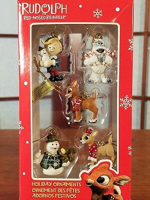 Enesco Rudolph the Red Nosed Reindeer Holiday Ornaments- 5 MINIATURES - NIB
