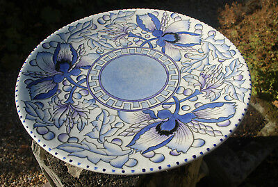 "stunning 1930s Charlotte Rhead blue peony charger 14.5"" Bursley ware tube lined"