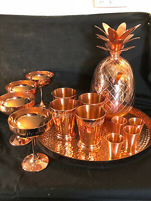 Collectible Absolut Elyx Rose Gold/ Copper Colored Pineapple Drink Service
